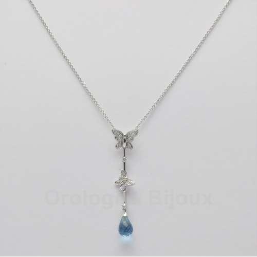 Collana girocollo collier oro bianco Topazio azzurro Diamanti