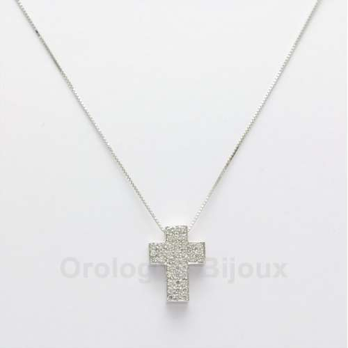 Collana Oro bianco 18 Kt croce Diamanti GVS035