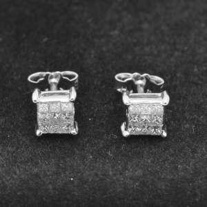 Orecchini pavè Quadro oro Bianco 18 Kt  Diamanti  ORODH034
