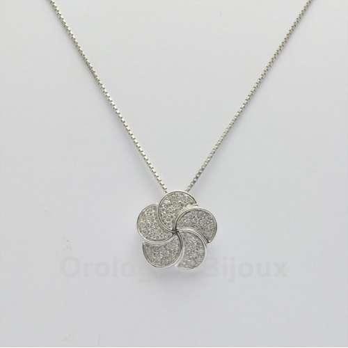 Collana oro bianco e diamanti Salvini Fiore 20019196 31 SG C.0,36