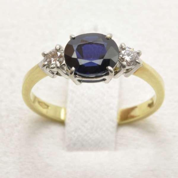 Popolare Anello Classico Oro giallo Zaffiro Blu Diamanti ANOZD1152  YB16