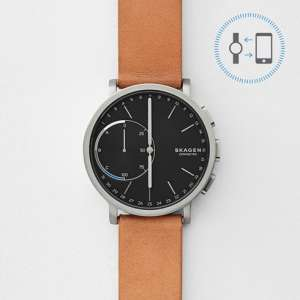 Hagen Connected Titanium and Leather Hybrid Smartwatch SKT1104