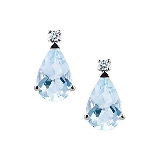 sconto in vendita all'ingrosso una grande varietà di modelli Orecchini Acquamarina Demetra Oro 18 kt Diamante 028385304